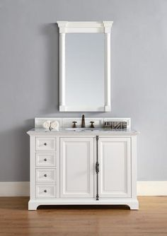 "Providence 48"", James Martin Cottage White Transitional Bathroom Vanity"
