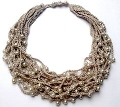 Pearl necklace Pearl Statement Long necklace Long beaded necklace Multi strand Bead crochet Crocheted necklace with beads Knitted necklace Knitted Necklace, Fabric Necklace, Fabric Jewelry, Diy Necklace, Beaded Jewelry, Handmade Jewelry, Thread Jewellery, Necklace Ideas, Purple Necklace