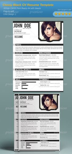 classy black cv resume template print ready cmyk inch with bleeds fonts listed in the read me file