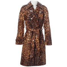 Pre-owned Dolce & Gabbana Silk Trench Coat ($1,049) ❤ liked on Polyvore featuring outerwear, coats, brown, leopard print coats, dolce gabbana coat, brown double breasted coat, button trench coat and brown trench coat