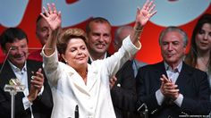 The Brazilian President, Dilma Rousseff, celebrates her re-election. She defeated the centre-right challenger Aecio Neves in a run-off