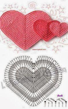 Patrón corazón ganchillo...
