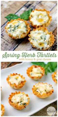 Delicious recipe for Spring Herb Tartlets with Honey and Goat Cheese. Super easy and super YUM!