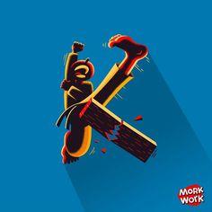 """K"" de Karateca. #morkwork #36daysoftype #36days_K #K #tipografia #type #vector #lettering #illustration #karate #sport  #kicks #cool #martialarts # #instagood #nice #taekwondo by morkwork"