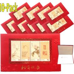 10-Pack Chinese Lunar New Year Cards. Chinese New Year Gifts, Dog Years, Flower Stamp, Lunar New, Flowers, Cards, Maps, Royal Icing Flowers, Playing Cards
