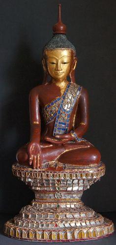 Burmese Shan Hollow lacquer Buddha Statue glass mosaics 19th Century