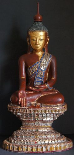 Burmese Shan Hollow lacquer Buddha Statue glass mosaics 19th Century