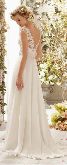 elegant lace v neck back beach wedding dress that's my dress :)