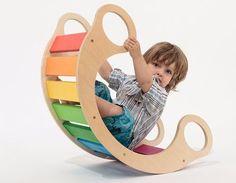 balanço infantil arco-iris de madeira