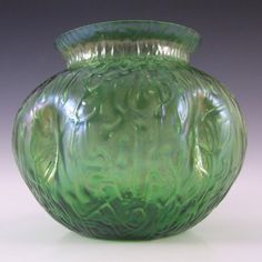 Art Nouveau Bohemian 1900's Iridescent Green Glass Vase