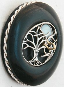 """""""AUTUMN MOON""""    2"""" Ebony Whorl  Vintage Cast Sterling Inset with Mother of Pearl Moon  Sterling Silver Ring  0.82 oz"""