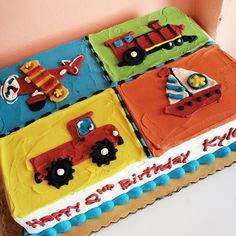 Plane, train, truck and boat birthday cake by 2tarts Bakery / New Braunfels, Texas / www.2tarts.com