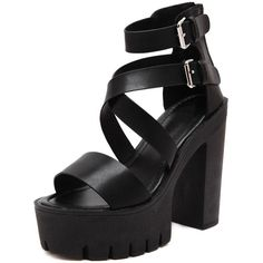 Black Peep Toe Buckle Platform Chunky Pumps (115 BRL) ❤ liked on Polyvore featuring shoes, pumps, black peep toe shoes, buckle shoes, black platform pumps, peep toe platform pumps and peep toe pumps