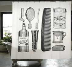 LOVE this shower curtain. Apothecary Shower Curtain | Izola
