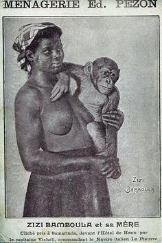 Zizi Bamboula et sa mère, carte publicitaire pour la Ménagerie Ed. Pezon, c.1900. ref.docpix009517