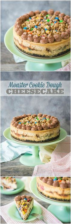 Monster Cookie Dough Cheesecake: OMG this dessert is completely over-the-top! Peanut butter cheesecake with hunks of peanut butter oatmeal m&m cookie dough, on an Oreo cookie crust, with more cookie dough on top and swirls of chocolate whipped cream. Cookie Dough Cheesecake, Cookie Crust, Cheesecake Recipes, Cheesecake Deserts, Oreo Crust, Homemade Cheesecake, Homemade Snickers, Easy Desserts, Delicious Desserts