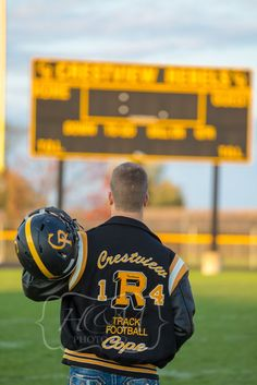 Senior Portrait / Photo / Picture Idea - Football - Scoreboard - Varsity Letter Jacket