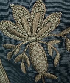 Cornflower Blue Silk Faille Embroidered Trained Skirt   c.1880-1900  -  Antique & Vintage Dress Gallery    (View Of Embroidery Detail)