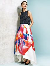 NWT COAST HYPER BLOOM ORANGE BLUE PINK FLORAL PRINT MULLET MAXI SKIRT 6 2 34