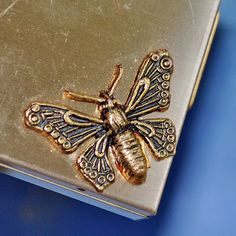 BUTTERFLY vintage makeup compact from an estate by CoolVintage