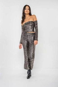 Get ready to party! Bronze and silver raindropstretch sequin flare pantswith an elastic waistband. Preorder... Rain Drops, Flare Pants, Ready To Wear, Sequins, Bronze, Party, Fabric, Model, Silver
