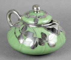 RARE ANTIQUE SHREVE & CO SILVER OVERLAY ORIENTAL? PORCELAIN TEAPOT c.1905 - so sweet