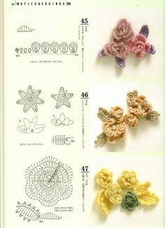 Crochet Flowers - Chart                                                                                                                                                                                 Mais