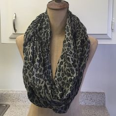 Leopard Scarf Grey and black leopard print infinity scarf. Light weight. Accessories Scarves & Wraps