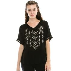 Ladies' Vocal Black S/S Studded Knit Top......