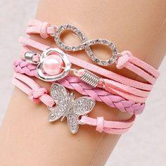 Graceful Rhinestone Faux Pearl Infinite Butterfly Bracelet For Women