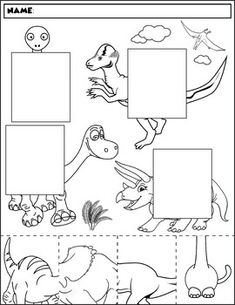 $1 | Color, cut, and match the dinosaur halves. Package includes five no prep worksheets. Great for working on those visual discrimination skills. #preschool #preschoolers #preschoolactivities #kindergarten #Homeschooling #dinosaur #worksheet #dinos #dinosaur