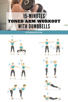 Are you tired of flabby arms? Don't worry, you're not the only one who has them. For some people, they are a worrying sign of aging and weakness. But you can fix that. By following a specific arm workout with dumbbells that we have prepared for you here. It will only take you 15 minutes to do. Follow this workout consistently for several weeks and you will see results. #armworkout #dumbbellworkout #losearmfat #workout Dumbell Workout For Arms, Tone Arms Workout, Butt Workout, Lifting Workouts, Fun Workouts, Body Workouts, Workouts For Arms, Fitness Workouts, 15 Minute Workout