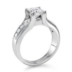 Solitaire Diamond Ring in 14K Gold / White (1 1/2 ct, K Color, SI2 Clarity), Princess Cut, IGI Certified