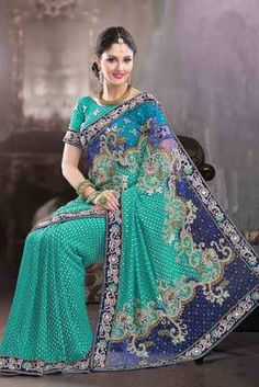 Multi colour Georgette & Net combo weaved & stone worked saree - Rs 16660