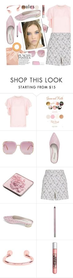 """""""Slip 'Em On: Mules & spring lips"""" by joliedy ❤ liked on Polyvore featuring Sandro, Elie Saab, Jeffrey Campbell, Trish McEvoy, House of Holland, Giambattista Valli, Urban Decay, Maria Francesca Pepe, Lipstick Queen and Essie"""