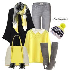 """""""black grey yellow contest"""" by leeann829 ❤ liked on Polyvore featuring Burberry, Roland Mouret, Steve Madden, Isaac Mizrahi and Lauren Ralph Lauren"""