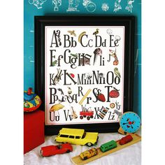 English Schoolhouse Alphabet Poster Large 16x20 by bibitty
