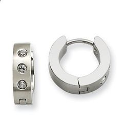 Women's Stainless Steel CZ Hinged 14MM Hoop Earrings Jewelry Gemologica.com offers a unique simple selection of #handmade #fashion #fine #jewelry for #men #women #children to make a statement. We offer #earrings #bracelets #necklaces #pendants #rings #accessories with #gemstones #diamonds #birthstones available in Sterling #Silver 10K 14K 18K #yellow #rose #white #gold #titanium silver #metal. Shop Gemologica jewellery now for cool cute design ideas
