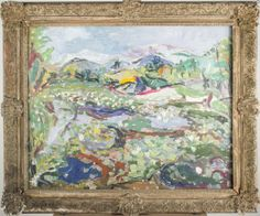 Jehudith Sobel (Polish/American, 1924-2012)   Capo Auction   Lot 51   Landscape from Woodstock. Oil on canvas, 1960. Signed (l.l.), titled and dated (verso). canvas size 24 1/4 x 30 inches. Framed.