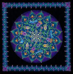Sacred Garden Mandala painting Handmade Fine Art  Sacred Geometry Art Print on Canvas Floral Mandala Wall Hanging Good Luck Room Decor,
