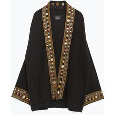 Zara Embroidered Ethnic Jacket (€34) ❤ liked on Polyvore featuring outerwear, jackets, black, embroidered jacket, zara jackets and embroidery jackets