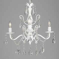 Wrought Iron and Crystal White 4-light Chandelier Pendant - Overstock Shopping - Great Deals on Chandeliers & Pendants