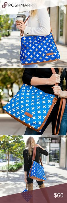 """Blue & Gold Crosses Hobo Crossbody Bag - NWT Vegan leather and canvas Gold poly blend lining Adjustable strap 16"""" at bottom, 14"""" at top, 13"""" tall, 5.5"""" wide - THIS LISTING IS FOR THE HOBO BAG ONLY CLUTCH SOLD SEPARATELY white elm Bags Crossbody Bags"""