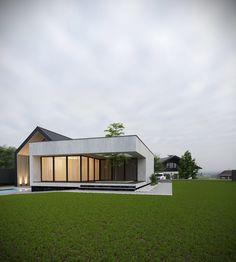 Private house on Behance House Front Design, Roof Design, Exterior Design, Design Art, Modern Barn House, Modern House Design, Contemporary Design, Fachada Colonial, Woodland House