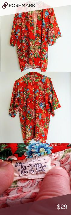 Colorful Japanese Kimono Top Gorgeous kimono top from Japan, made from 100% rayon in a floral print with a bright red background. No marked size, but seems to be a medium and could probably fit multiple sizes. Good preloved condition with some thinning in the fabric and a tiny, pinprick hole on the back bottom where it was probably sat on (hard to take a picture of the wear clearly, but the last pic is my best attempt). Tops
