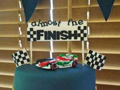 race car themed baby shower | Formula One Racing Theme baby shower and dessert table cake topper ...