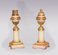 A pair of mid 19th Century French white marble and ormolu Cassolettes, in the form of decorated urns with handles, supported on fluted columns, ending on square plinth bases. Circa: 1850 Ref: 5558