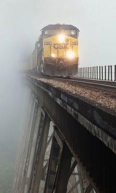 Train crossing the Copper Creek Viaduct in the fog,  Scott County, Virginia, U. S | by  Appalachian Railfan
