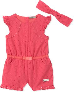7a5a155a78461 Add an adorable staple to your little one s warm weather wardrobe with the  Romper and Headband Set from Calvin Klein. The sweet outfit features a  coral ...
