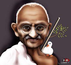 mahatma gandhi By saadet demir yalcin | Politics Cartoon | TOONPOOL